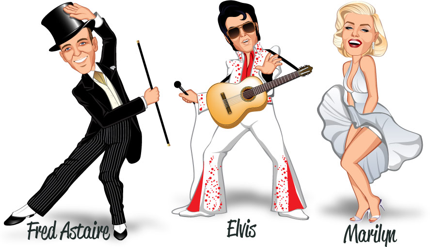 Popular costumes Fred Astaire, Elvis Presley and Marilyn Monroe