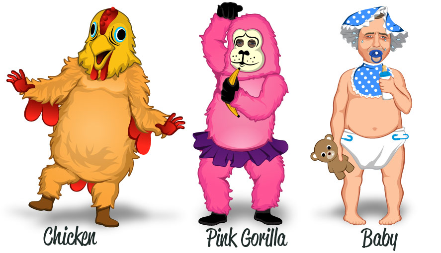 Popular costumes Dancing Chicken, Pink Gorilla and Mad/Crying Baby